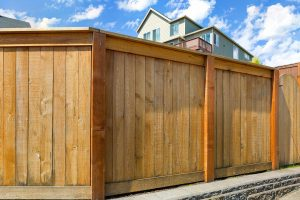 Wood Privacy Fence built in Thornton, Colorado surrounding a home.